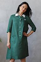 Женское летнее льняное зеленое нарядное платье Romgil 20с276-40 зеленый 42р.