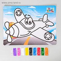 Фреска с цветным основанием «Самолет» 9 цветов песка по 2 г