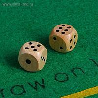 Кубики игральные, деревянные, 2 шт, 1.4 х 1.4 см