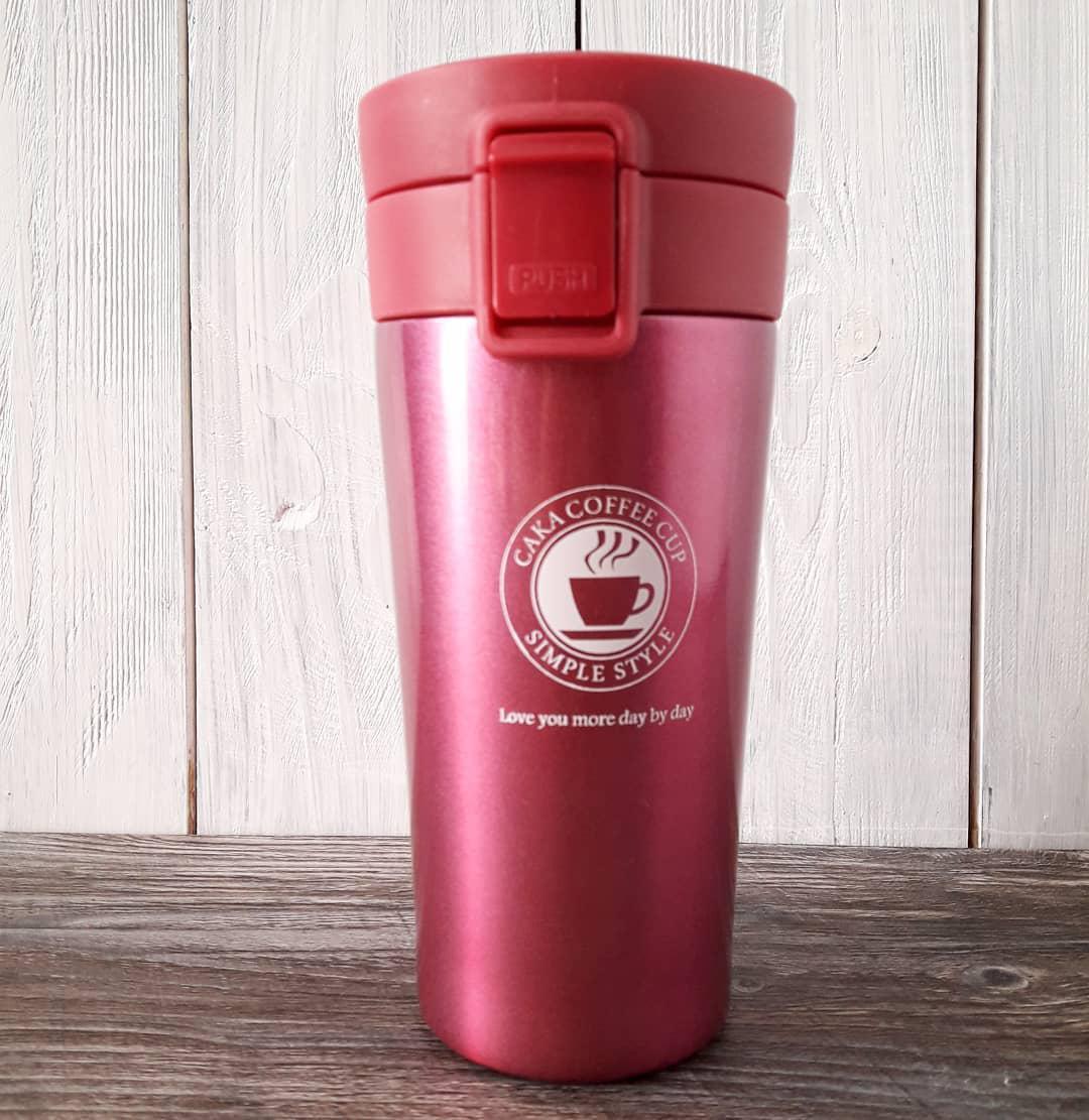 Термокружка термос для кофе. Малиновый. 500 мл.