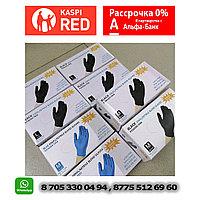 Перчатки нитриловые M L S размеры голубые черные цвета