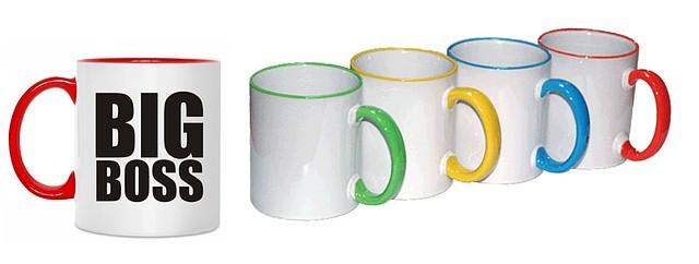 Кружки с любым полноцветным изображением, цветные. Мин. тираж 50шт.