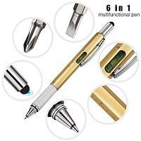 Мультитул-ручка 6 в 1 TOMTOSH [шариковая ручка-2 отвертки-стилус-уровень-линейка] (Золотой)