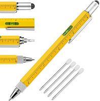 Мультитул-ручка 6 в 1 TOMTOSH [шариковая ручка-2 отвертки-стилус-уровень-линейка] (Желтый)