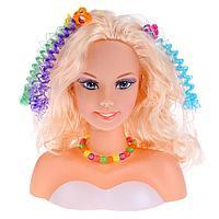 Карапуз: Кукла-манекен для создания причесок, 8 аксессуаров для волос в русс. кор. Карапуз в кор.36шт