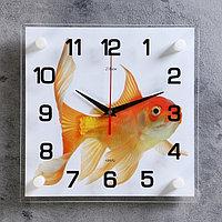 """Часы настенные интерьерные стеклянные, рисунок """"Золотая рыбка"""""""