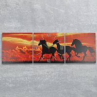 Часы настенные модульные «Лошади на закате», 35 × 110 см