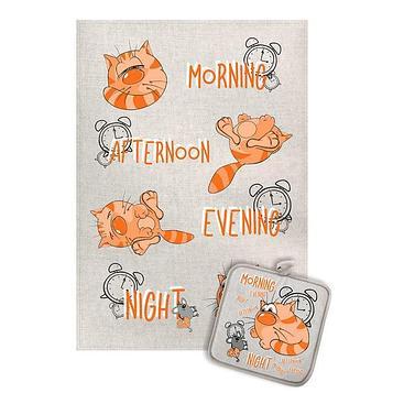 Кухонный набор Котик утро-ночь (полотенце 45х60+прихватка 18х18) полулен, 160г/м