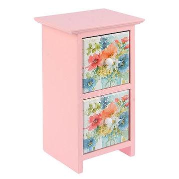 """Шкатулка дерево 2 ящика """"Цветы акварельные"""" розовая 24х11,5х14 см"""