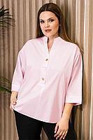 Женская летняя хлопковая розовая деловая большого размера блуза Prio 485143 светло-розовый 52р.