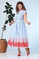 Женское летнее хлопковое голубое платье Anastasia 651 голубой 50р.