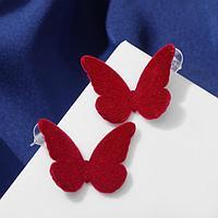 """Серьги ассорти """"Мягкость"""" бабочки, цвет бордовый"""