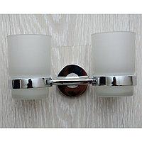 Стакан для зубных щеток, стеклянный, двойной, хром