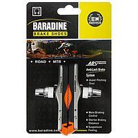 Колодки для v-brake 72 мм, Baradine ABS-01VC, картриджные, цвет чёрный/оранжевый