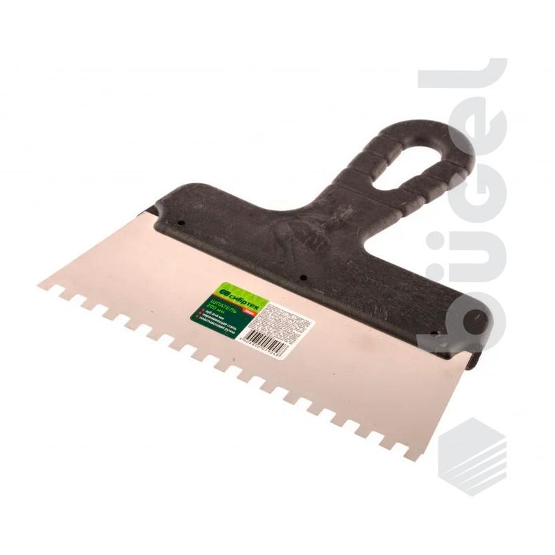 Шпатель из нержавеющей стали, 200 мм, зуб 6*6 мм, пластмассовая ручка// СИБРТЕХ