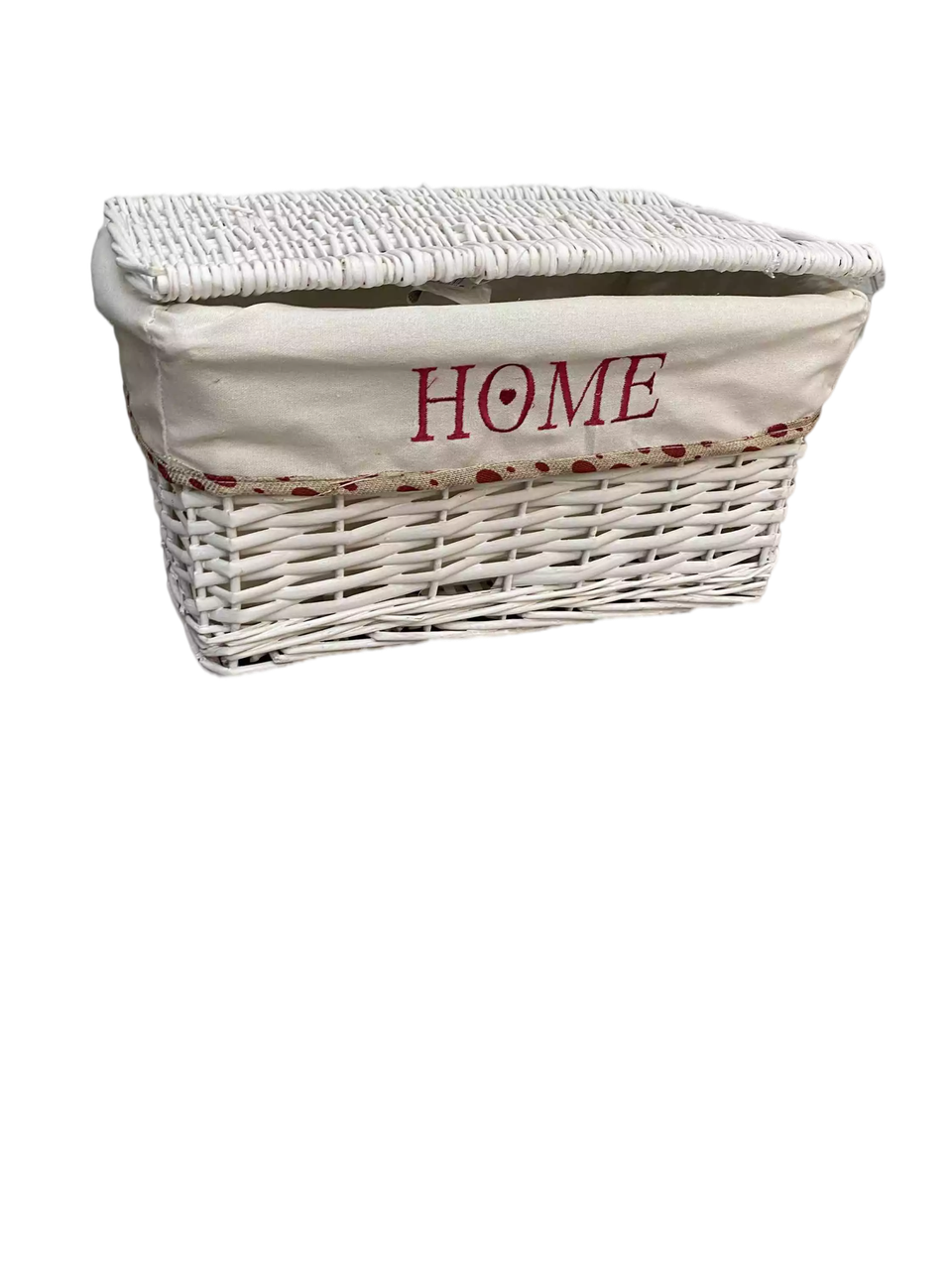 Корзина плетеная Белая прямоугольная Ива L42х26 H 23 см