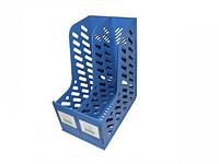 Лоток вертикальный А4, 173мм, 2-х секционный, синий, пластик сборный