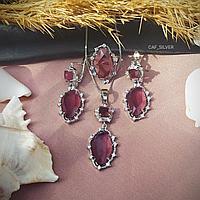"""Серебряный комплект """"Галла"""" 18р, красно-бордовый, полупрозрачный, серьги, кулон, кольцо, цепочка, подарок"""