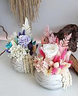 Мини-композиции из стабилизированных цветов и сухоцветов