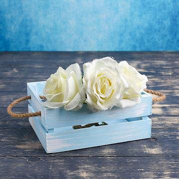 """Кашпо деревянное 20×16×8 см """"Щедрость"""" реечное, ручка верёвка, голубая кисть Дарим Красиво"""