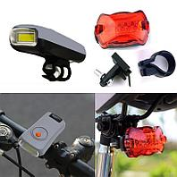 Набор велосипедный из 2-х фонарей на батарейках Ledbicycle lights Kiakuo серый