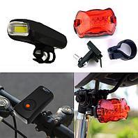 Набор велосипедный из 2-х фонарей на батарейках Ledbicycle lights Kiakuo черный