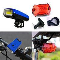 Набор велосипедный из 2-х фонарей на батарейках Ledbicycle lights Kiakuo синий