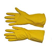 Перчатки резиновые для влажной уборки, желтые, прочные