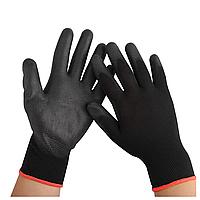 Перчатки рабочие синтетические с полиуретановым покрытием, черные