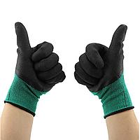 Перчатки рабочие синтетические с полиуретановым покрытием #300, черный/зеленый