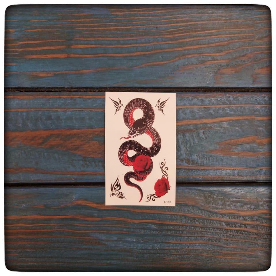 """Водостойкая временная тату- наклейка """"Цветочная змея"""""""