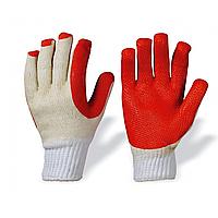 Перчатки рабочие х/б с ПВХ покрытием, красные