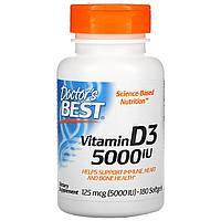 Витамин Д3, 125 мкг (5 000 МЕ), 180 капсул, Doctor's Best