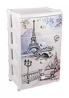 Пластиковый комод 4х-секц. «Весна в Париже» (Альтернатива пласт, Россия)
