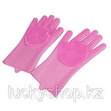 Силиконовые перчатки для мытья посуды, цвет розовый