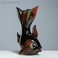 """Ваза настольная """"Золотая рыбка"""", чёрная, керамика, 35 см"""