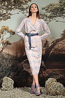Женский осенний из вискозы розовый деловой нарядный деловой костюм NiV NiV 2007 42р.