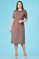 Женское летнее трикотажное коричневое платье Линия Л Б-1661 оттенки_коричневого 46р.