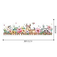 """Наклейка пластик интерьерная цветная """"Лесные зверушки в цветах"""" 60х90 см"""