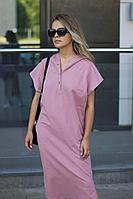 Женское летнее розовое платье Sisteroom ПлТ-085 розовая-пудра 42р.