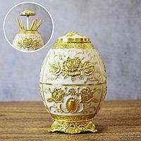 Подставка для зубочисток перламутровая Яйцо Фаберже узор золотистый розы белая