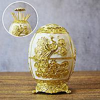 Подставка для зубочисток перламутровая Яйцо Фаберже узор золотистый павлин белая