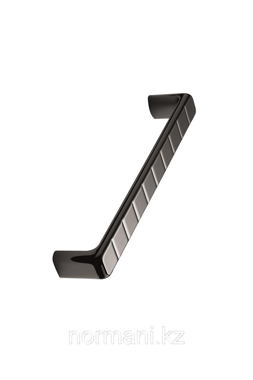 Мебельная ручка скоба 160мм SIDEWALK, отделка черный никель глянец