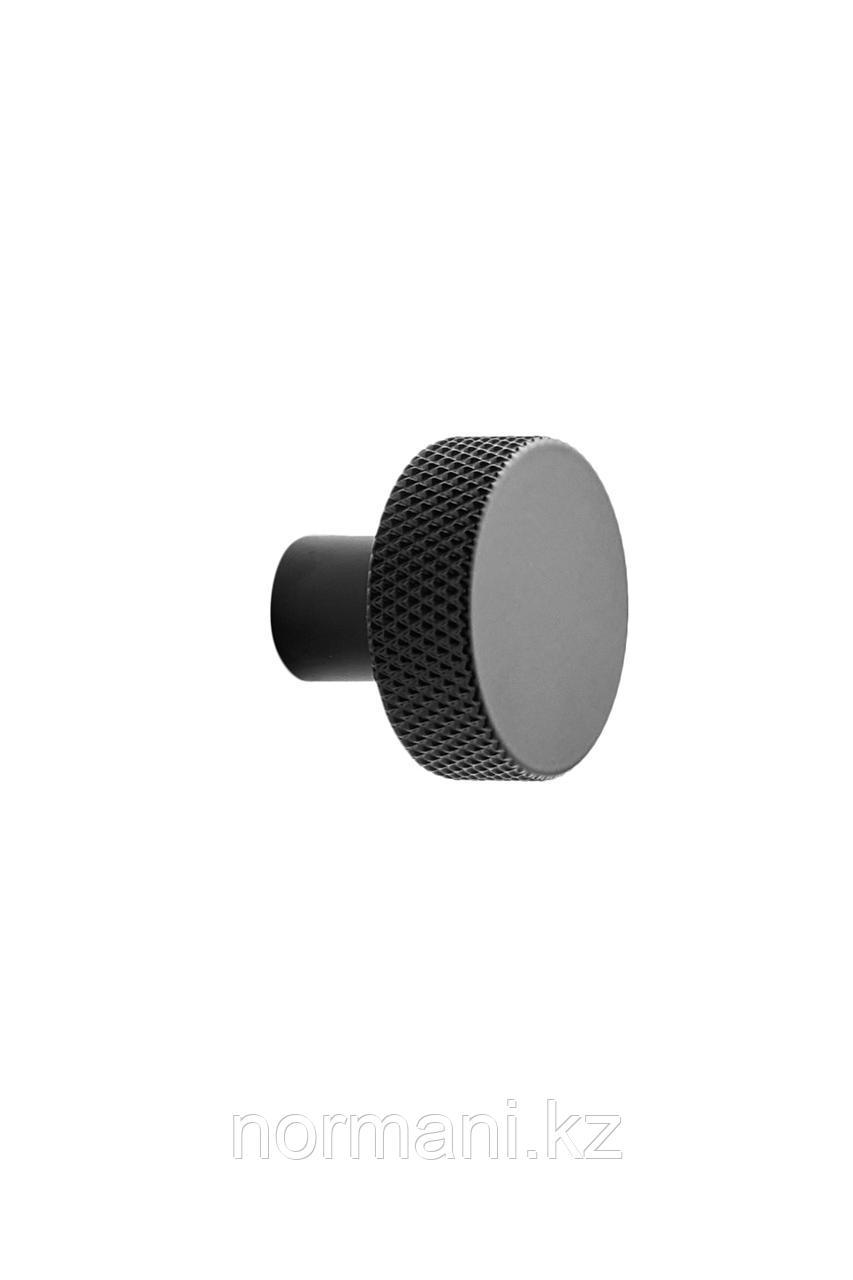 Мебельная ручка кнопка SIMON d.35, отделка черный матовый