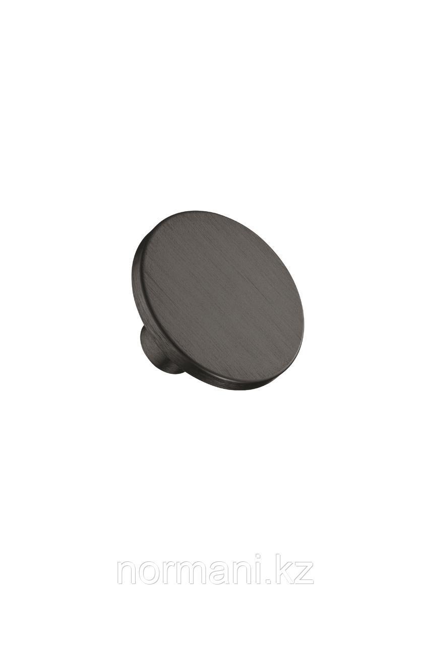 Мебельная ручка кнопка PLATO d.42мм, отделка черный шлифованный
