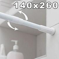Карниз для ванной комнаты телескопический алюминиевый 140х260 см белый
