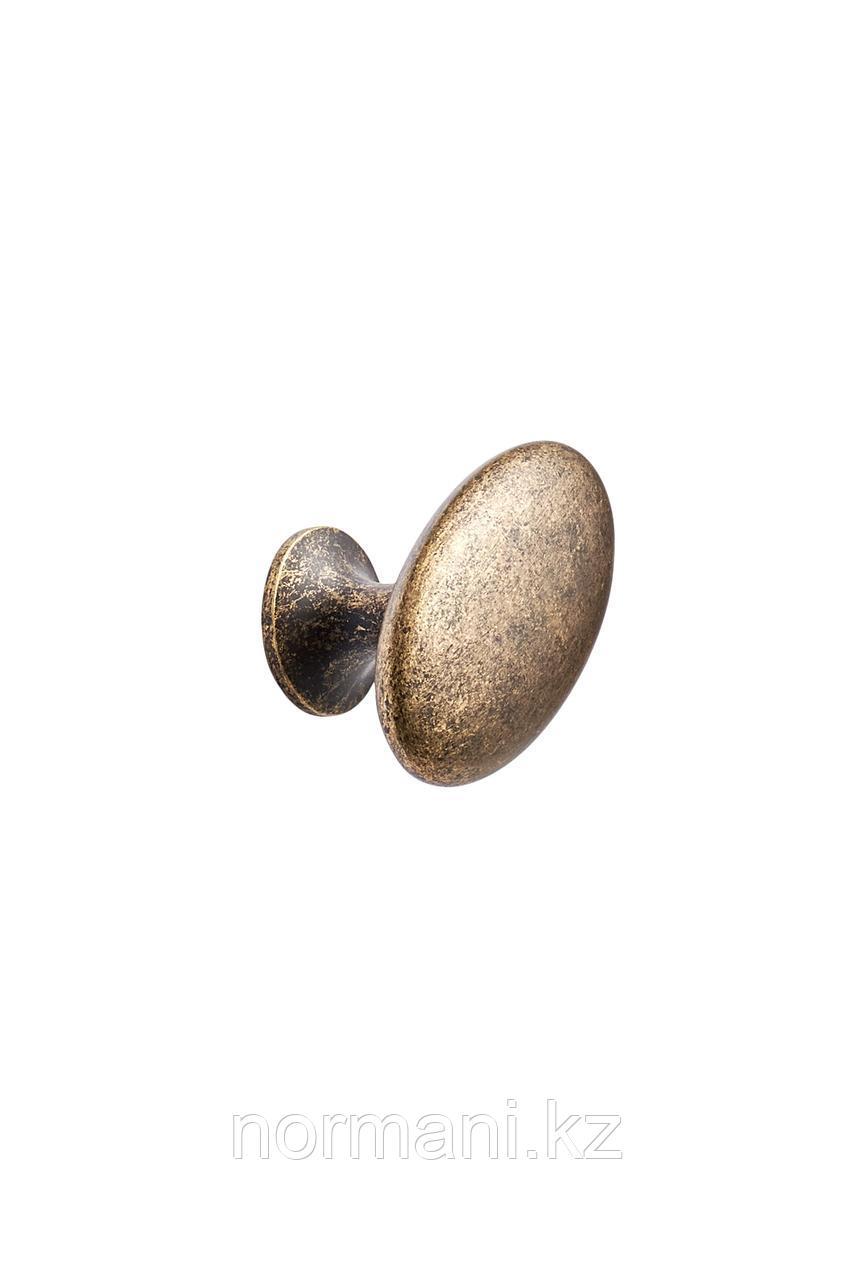 Мебельная ручка кнопка OVAL SIMPLE d.38, отделка золото темное