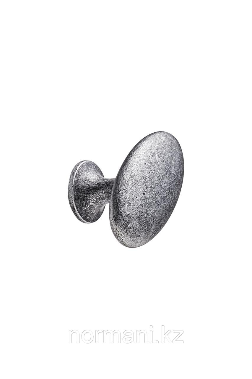 Мебельная ручка кнопка OVAL SIMPLE d.38, отделка железо