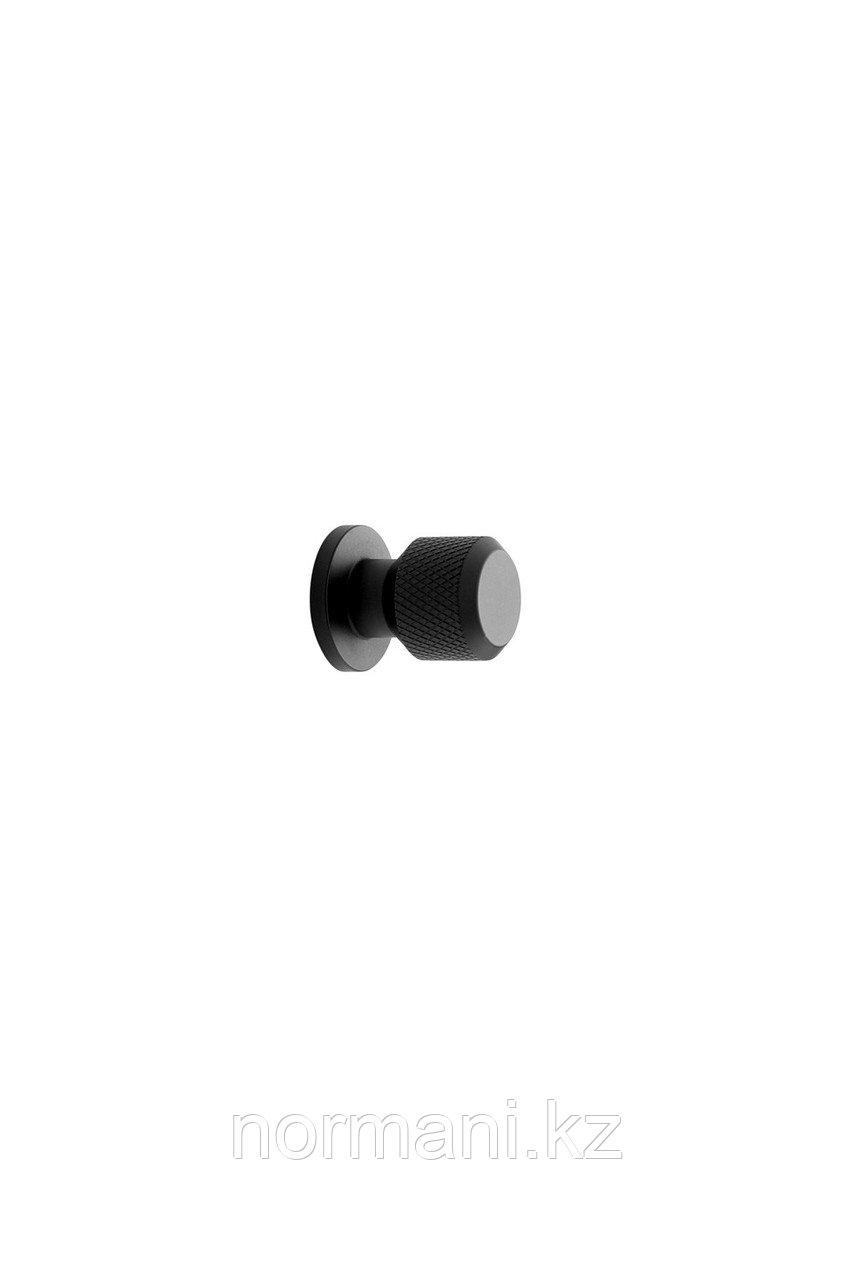 Мебельная ручка кнопка MANOR ROUND d.35мм, отделка черный матовый