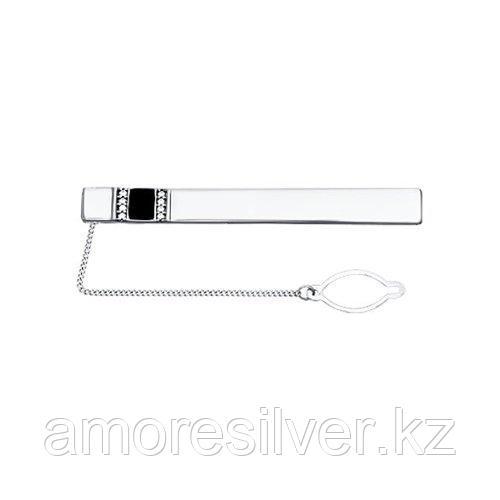 Зажимы для галстука SOKOLOV серебро с родием, эмаль фианит , классика 94090008